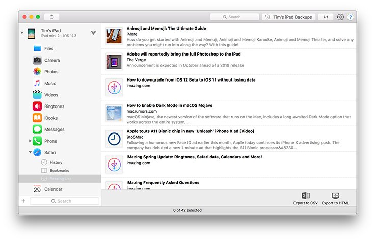 Export Safari Bookmarks, Reading Lists, and History to your Mac or