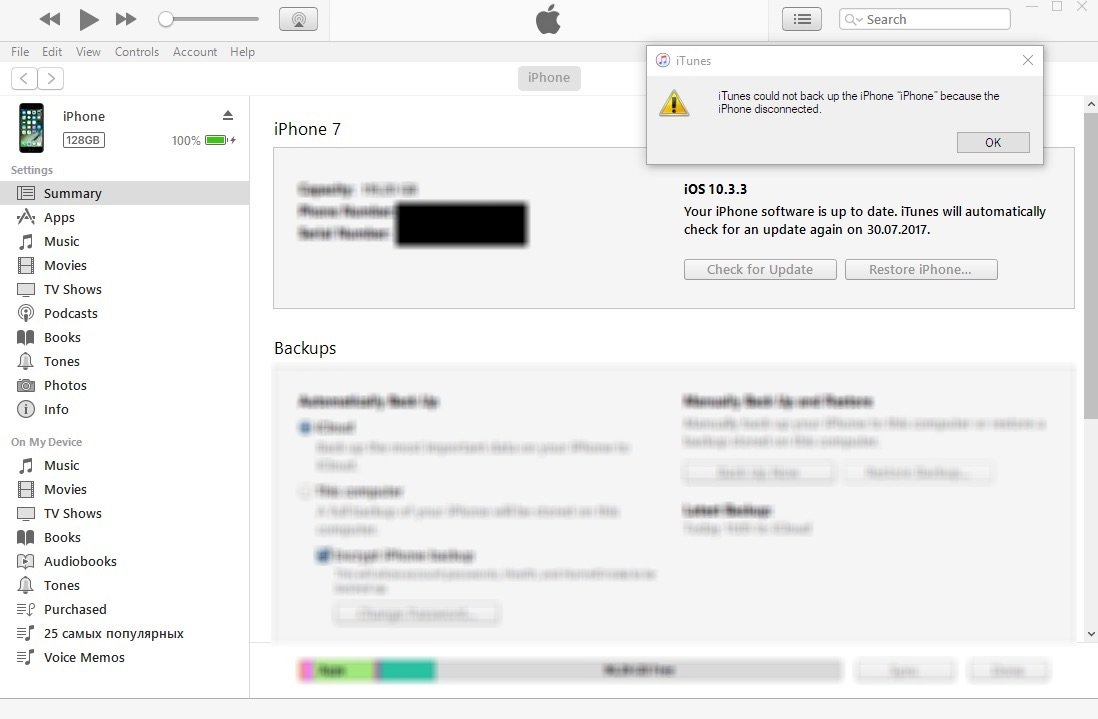 iPhone Disconnected iTunes Backup Error