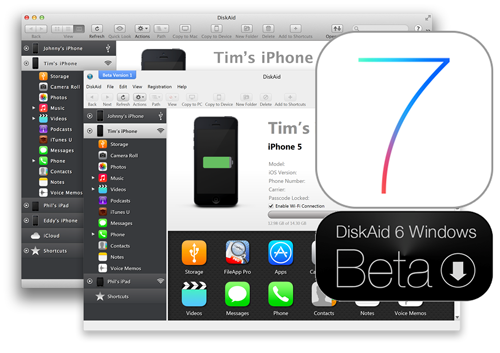DiskAid Wi-Fi Beta Windows for iOS7