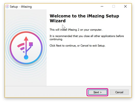 Wizard screen to start installer