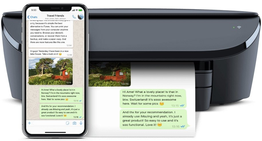 Printer printing WhatsApp messages with iMazing