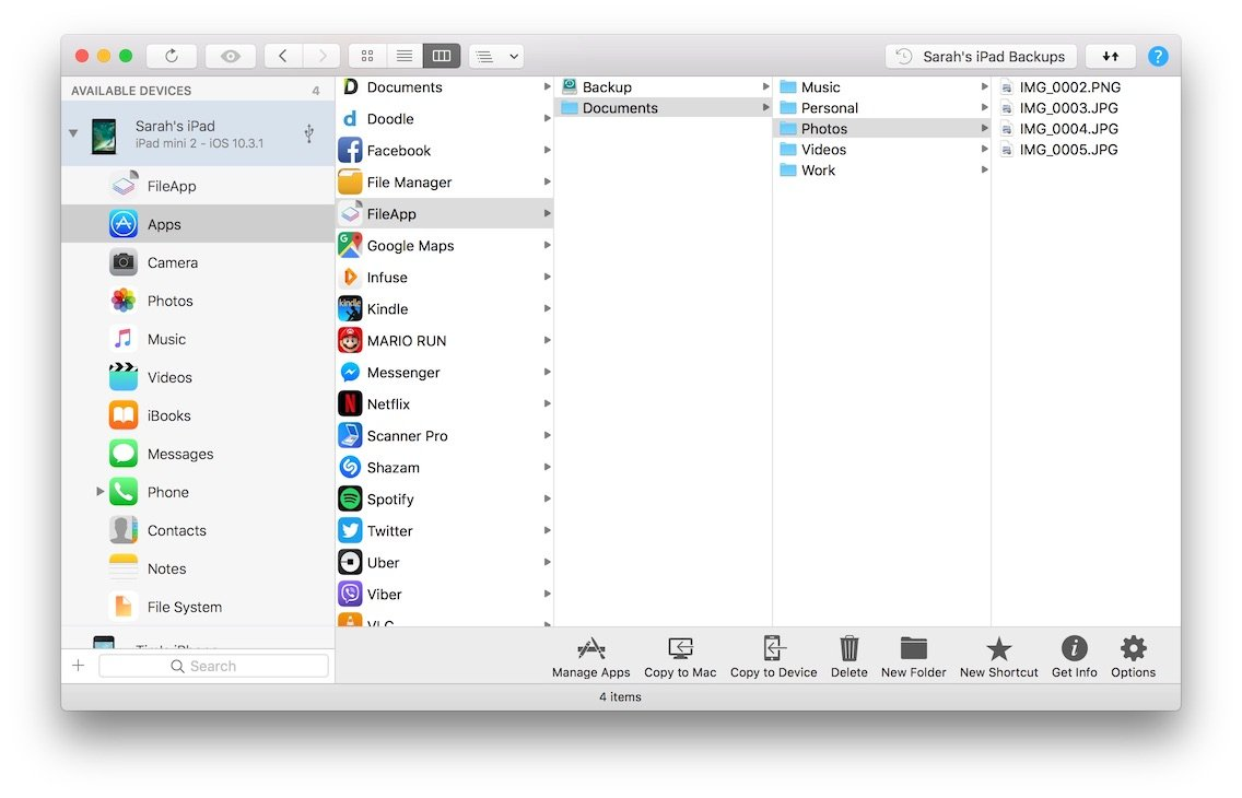 Browse and transfer iPhone files and folders