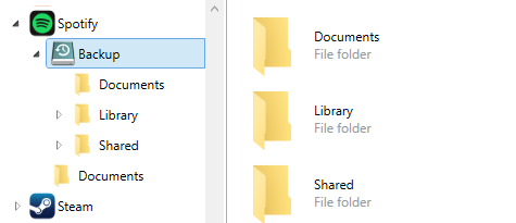 App with backup folder selected