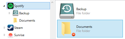 Documents icon when file sharing is disabled