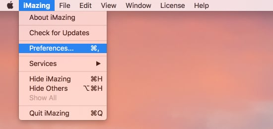 Menu bar with preferences selected