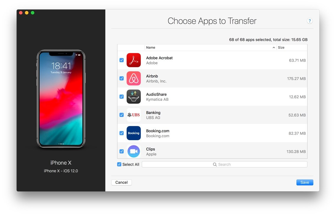 choose apps to transfer