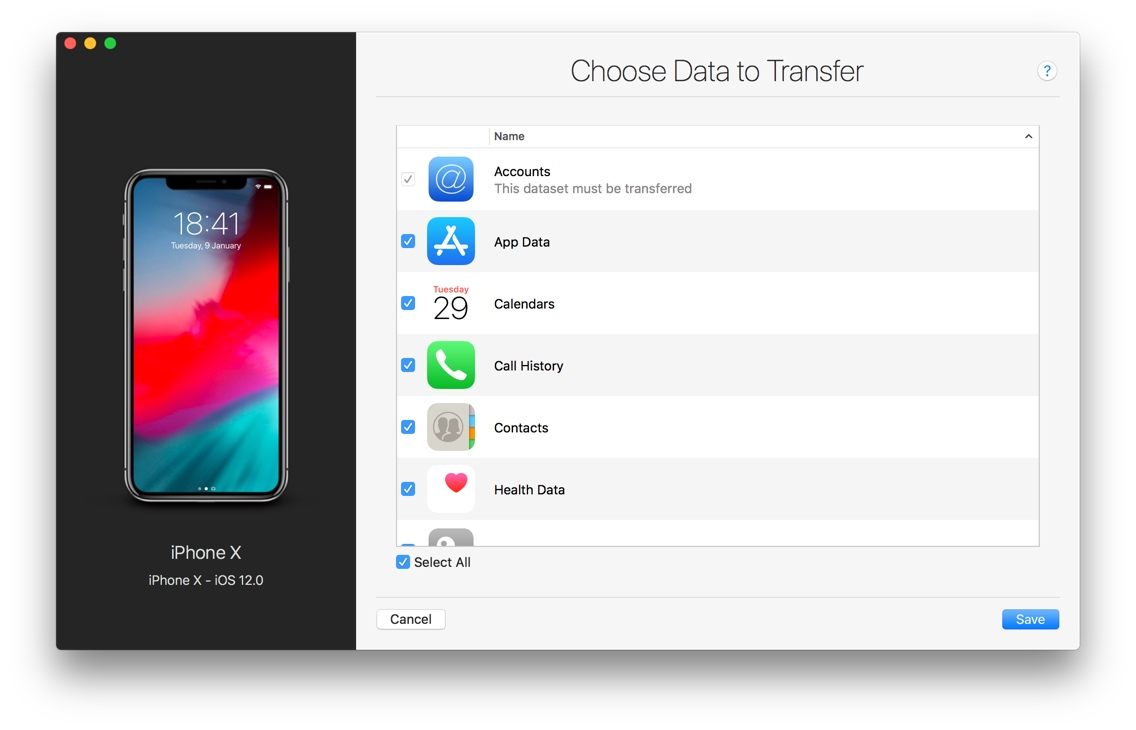 choose data to transfer