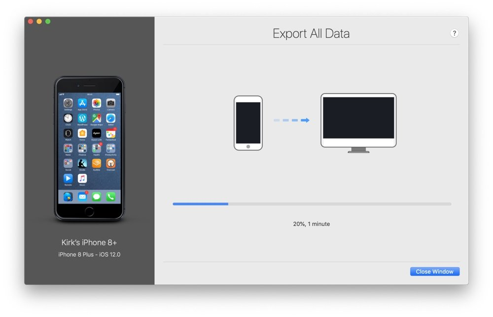 iMazing Export All Data progress screen