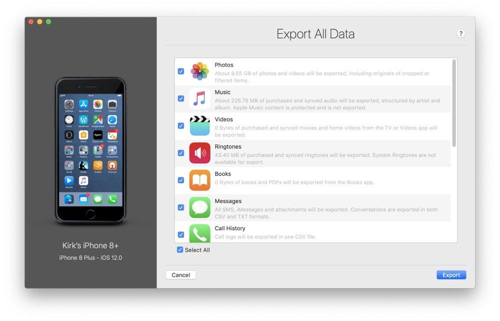 iMazing Export All Data wizard screenshot