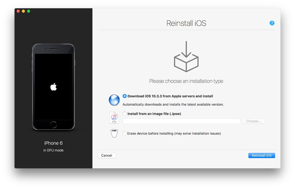 reinstall dfu options screen - How To Get Iphone Out Of Dfu Mode Without Computer